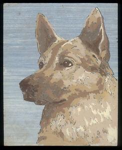 "Vintage Mid-Century Paint-by-Numbers Portrait of a German Shepherd, 10x8"""