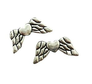60 Antiqued Tibetan Silver 19mm Angel Feather Wing with Heart Spacer Beads Wings