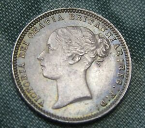1874 Victoria Silver Sixpence Die 23 Very High Grade.