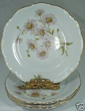 VINTAGE SALAD PLATE SET 4 PINK DAISY FLOWER,EMBOSSED,GOLD RIMS GERMANY