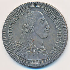 ITALY SICILY FERDINAND III ONCIA / 30 TARI 1793 EF+ holed