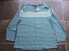 BNWT Women's Blue Striped Long Sleeve Cotton Knit Top Size 18