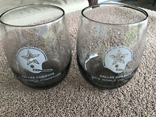 Set of 2 Vintage Dallas Cowboys 1972 World Champions Glasses Tumblers Grey