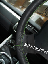 FOR HYUNDAI AMICA ATOZ BLACK LEATHER STEERING WHEEL COVER GREEN DOUBLE STITCHING