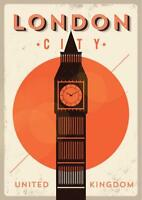 London City Big Ben Retro Travel Art Poster 24x36 inch