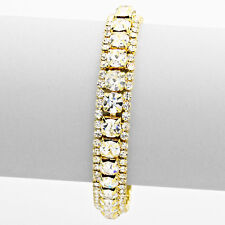 Gold and Clear Crystal and Rhinestone Bracelet