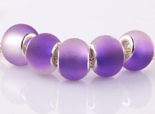 5pcs SILVER MURANO purple jelly spacer beads fit European Charm Bracelet #A938