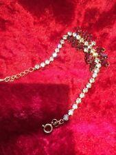 Marquise Cut & Rhinestone Bracelet A Vintage Sparkling Faux Ruby Red