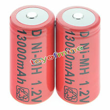 2x D size 1.2V 13000mAh Ni-MH Red Color Rechargeable Battery USA