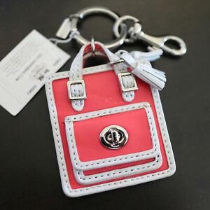 NWT COACH Leather Keychain 63836 Mini Handbag Purse Charm/ Key Ring FOB NEW