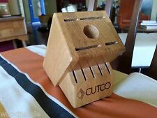 CUTCO ESSENTIALS + 5 10 piece KNIFE WOOD  BLOCK HOLDER  KNIVES FORK #1651 OAK