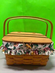 Vtg. '95 Longaberger Pie Basket Lid Protector Riser Floral Garden Splendor Liner