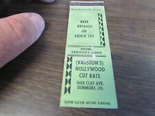 DUNMORE PA - VANSTON'S HOLLYWOOD CUT RATE - ALL KINDS OF BEER - MATCHBOOK COVER