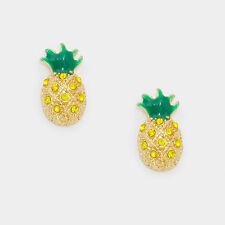 Pineapple Stud Earrings Tiny Studs Delicate Pave Stones Welcome Fruit GOLD GREEN