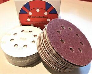 """125mm 5"""" Sanding Discs for Orbital Sander 40 - 800 grit"""