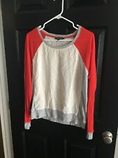 Women's Express Orange Beige Gray Baseball Top L
