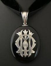 Victorian silver and onyx mourning locket, in memory of, pendant