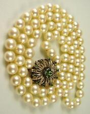 Schöne Echt Perlen Kette 585 Gold Verschluss mit Smaragden