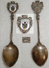 Sammler-Löffel MÜNCHEN aus 800 Silber mit Wappen aus Emaille