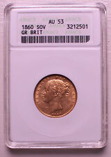UK 1860 Victoria Young Head Gold Sovereign ANACS AU53