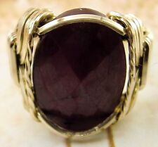 ladies Natural Ruby 15 carat Artisan Ring 14k gf gold mens