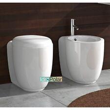 COPPIA SANITARI IN CERAMICA A TERRA FILO PARETE BTW SEDILE WC BIDET MINI 9.0