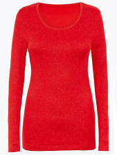 £16 New  Women's M&S Heatgen Thermal Long Sleeve Tops Red CHILLI Sparkle