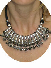 Ladies Rope Tube Chain Glass Beaded Diamante Drop Necklace Silver NEW