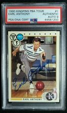 1990 PBA Kingpins #1 Earl Anthony Signed Rookie Card Autograph RC PSA/DNA 9 Auto