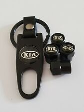 KIA Plastic Valve DUST CAPS Keyring Keychain Spanner all Models Black Stinger