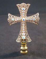 LAMP FINIAL-GOLD (AB) RHINESTONE CROSS LAMP FINIAL-POLISHED BRASS BASE