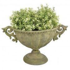 Esschert Design Aged veraltetem Metall Grün Vase oval S AM69 Antik Blumentopf