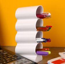 Wave Vertical Pen Pencil Case Holder Desktop Tower Organiser Desk Styler - White
