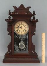 Antique Waterbury HUDSON Victorian Walnut Mantle Clock, Dragon Glass Pendulum