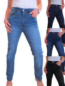 Womens Soft Straight Leg High Rise Jeans Stretchy Denim 10-20 Faulty Zips