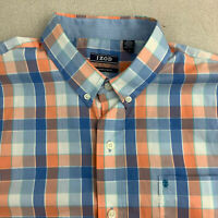 Izod Button Up Shirt Mens Large Blue Orange Check Non Iron Stretch Short Sleeve