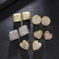 Fashion Gold Square Cube Zircon Stud Earrings For Men Women Earring Jewelry Gift