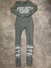 Victoria's Secret PINK XS Long John Pajamas Thermal Drop Seat Bum Jumpsuit Gray