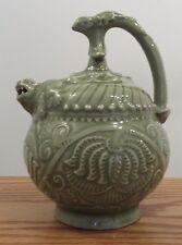 Signed Chinese puzzle/Cadogan teapot carved celadon porcelain ceramic