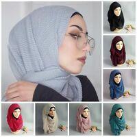 Muslim Women Long Scarf Big Hijab Cap Islamic Head Wrap Shawls Underscarf Arab