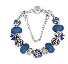 Blue Ribbon Cancer Awareness European Bead Charm Silver Bracelet 10pc Lot