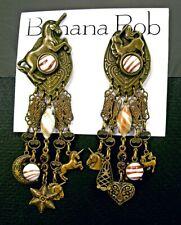 BANANA BOB Vtg UNICORN Dangle ART GLASS Rhinestone SWAROV CRYSTAL Clip Earrings