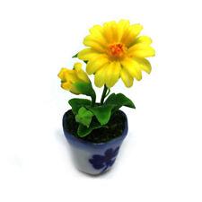 New listing Yellow Gerbera Flower Dollhouse Miniature Handmade Clay Ceramic Pot Tiny