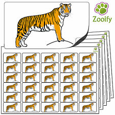 480 Tiger Stickers (38 x 21mm) Quality Self Adhesive Animal Labels By Zooify.