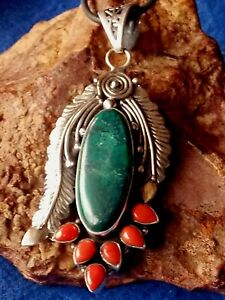 HANDCRAFTED STERLING SILVER INDIAN TURQUOISE & CORAL 70mmx30mm PENDANT £79.95nwt