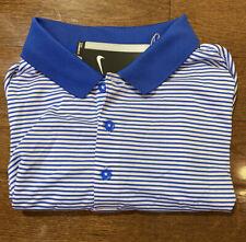 Mens Size XL Nike Polo Golf Shirt Blue Striped Short Sleeve 725520-480