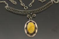 ANTIQUE BALTIC AMBER Vintage Egg Yolk Pendant Necklace Choker 15.7g 181015-4