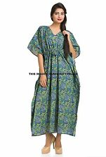 Kaftan Green Paisley Cocktail Womens Long Kimono Sleeve Vintage Long Maxi Dress