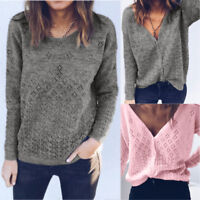 Women Long Sleeve Autumn Reversible Cardigan Sweater Tops Casual Blouse T-Shirt