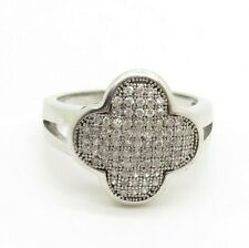 Four leaf clover ring 925 Sterling silver Good luck ring Cubic zirconia Size 7.5